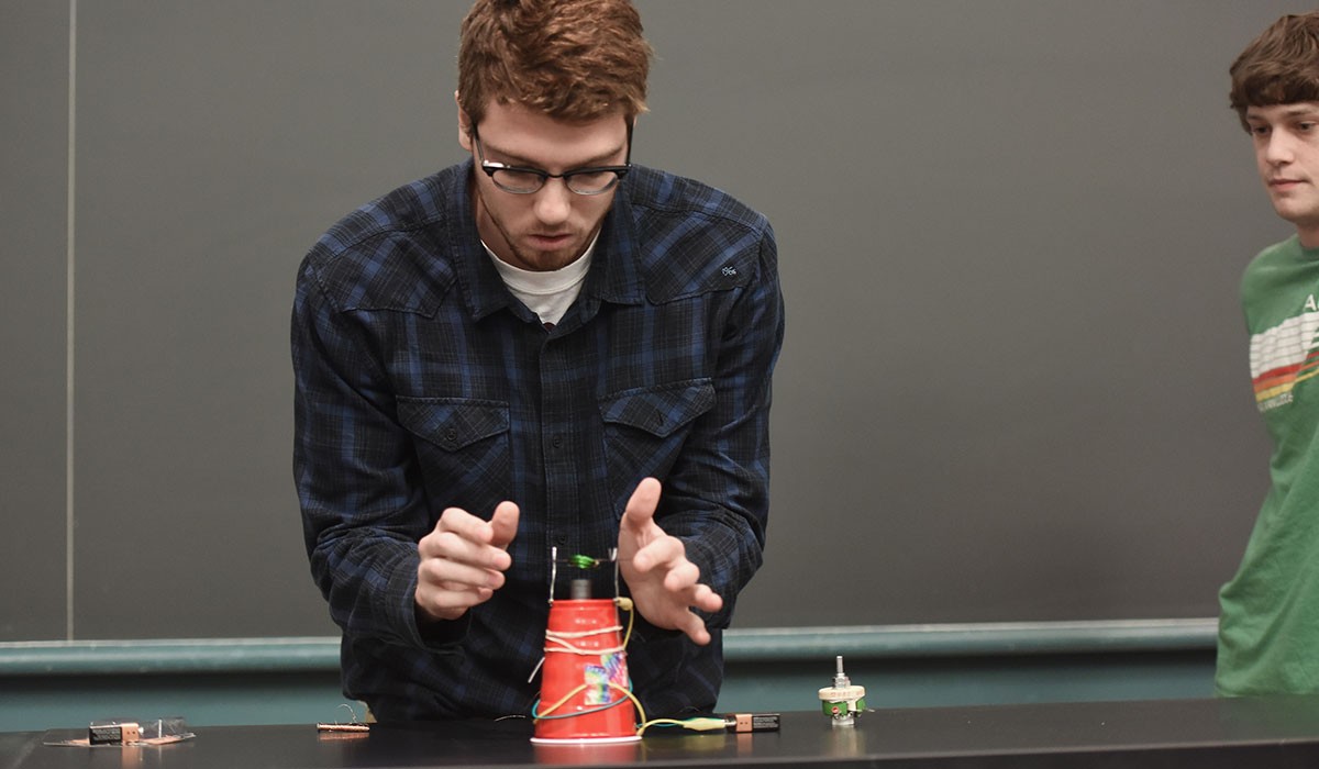 Student in physics class
