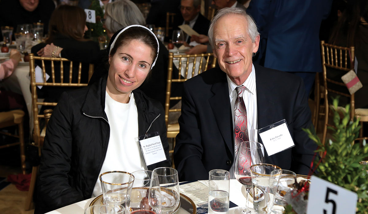 Sister Raghad Saeed Saqat with John Zavada, B.A. 1964, one of the donors of her scholarship.
