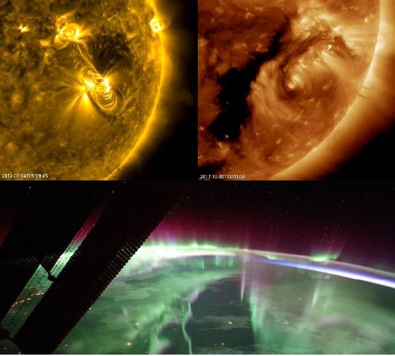 Collage of solar flares and Northern Lights